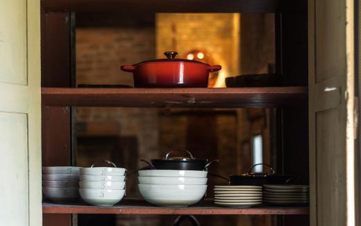 Custom-made dinnerware and glassware