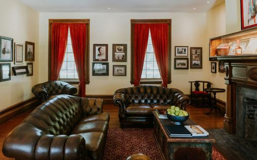 European leather sofas in the whisky parlor