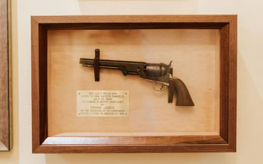 The Colt revolver surrendered onsite by Frank James at the end of the Civil War