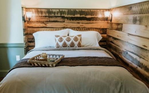 Headboards crafted from reclaimed wood from the Maker's Mark distillery