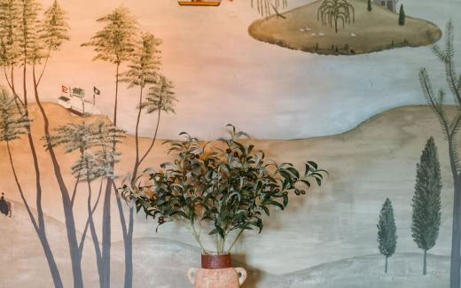 200-year-old original painted mural in the dining room