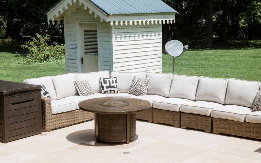 Plush outdoor sofa & patio fire pit