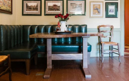 Keeneland-green custom bench and pub table