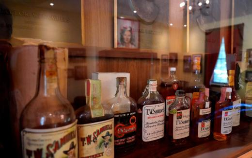 Bourbon whiskey bottles